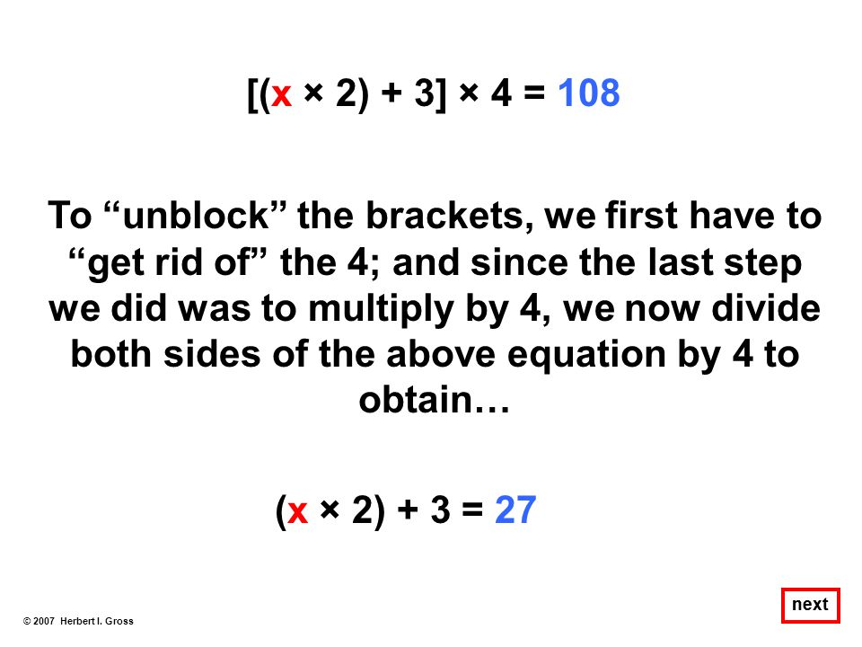 [(x × 2) + 3] × 4 = 108